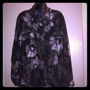 Black, White & Gray Floral Jacket
